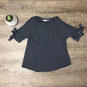 Loft Open Sleeve Top with Bow Ties
